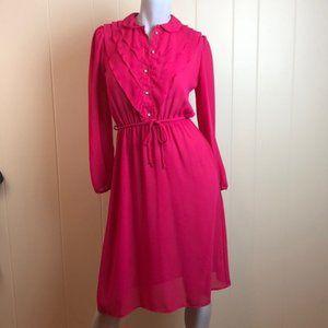 Vintage 70s/80s Magenta Disco Ruffle Shirt Dress